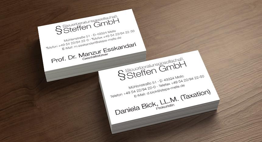 Visitenkarten Steffen Gmbh Gute Werbung Melle Von
